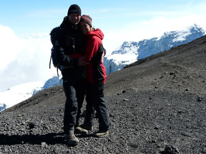 At Stella Point on Kilimanjaro - happy couple