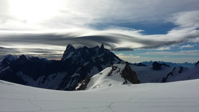 Upcoming storm over Grand Jorasses